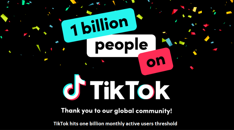 TikTok one billion monthly users